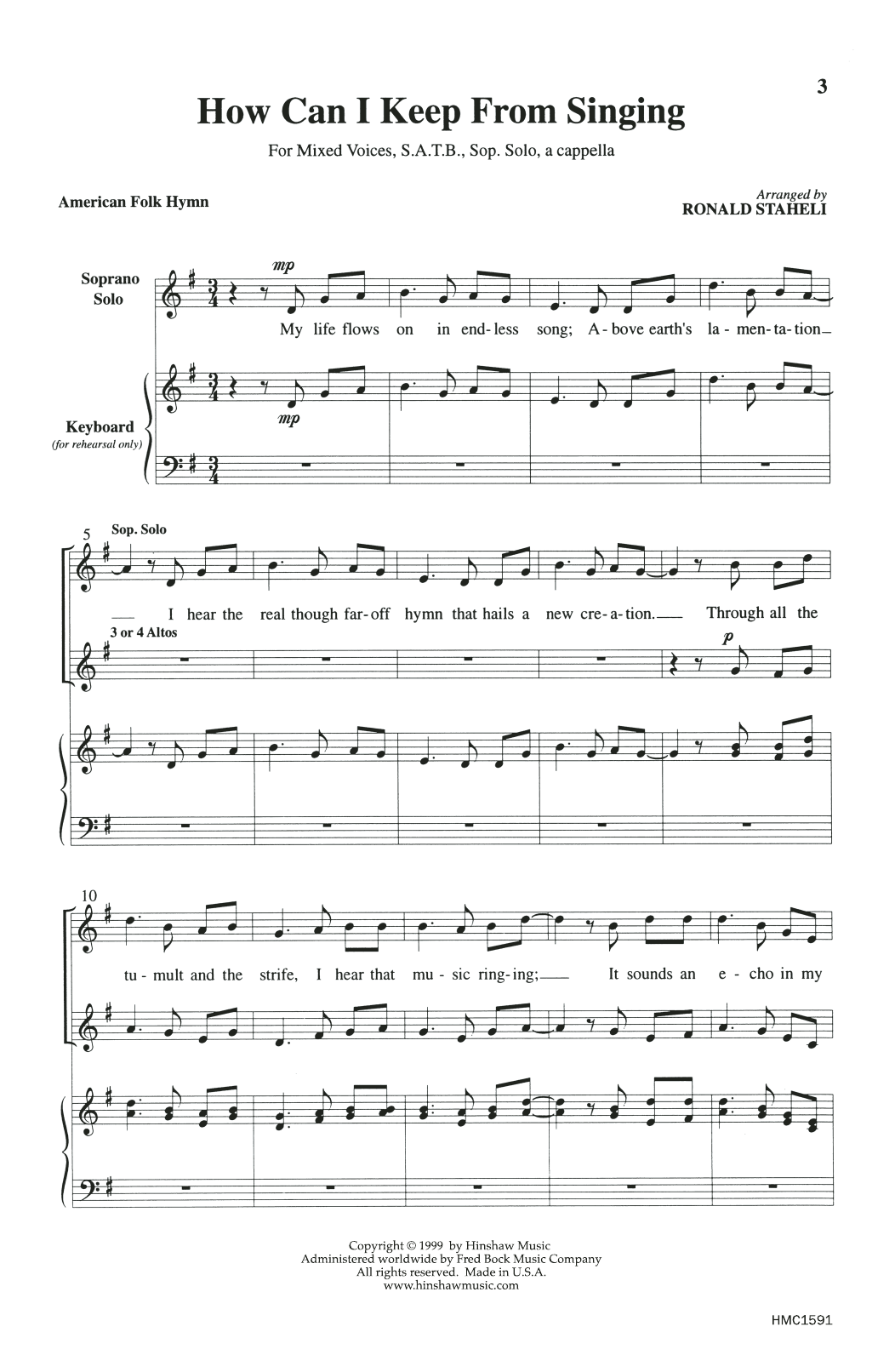 How Can I Keep From Singing (arr. Ronald Staheli) Sheet Music