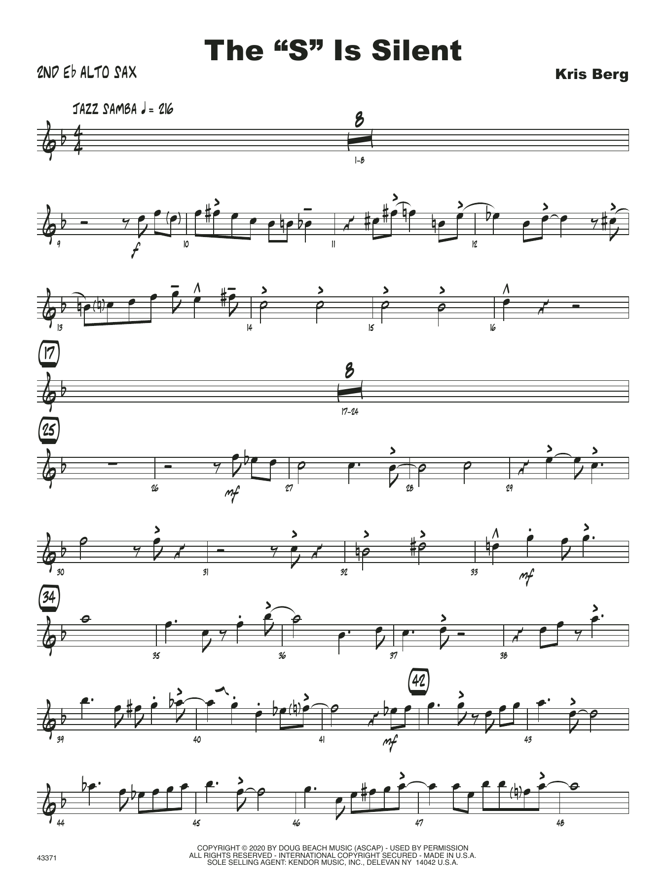 "The ""S"" Is Silent - 2nd Eb Alto Saxophone Sheet Music"