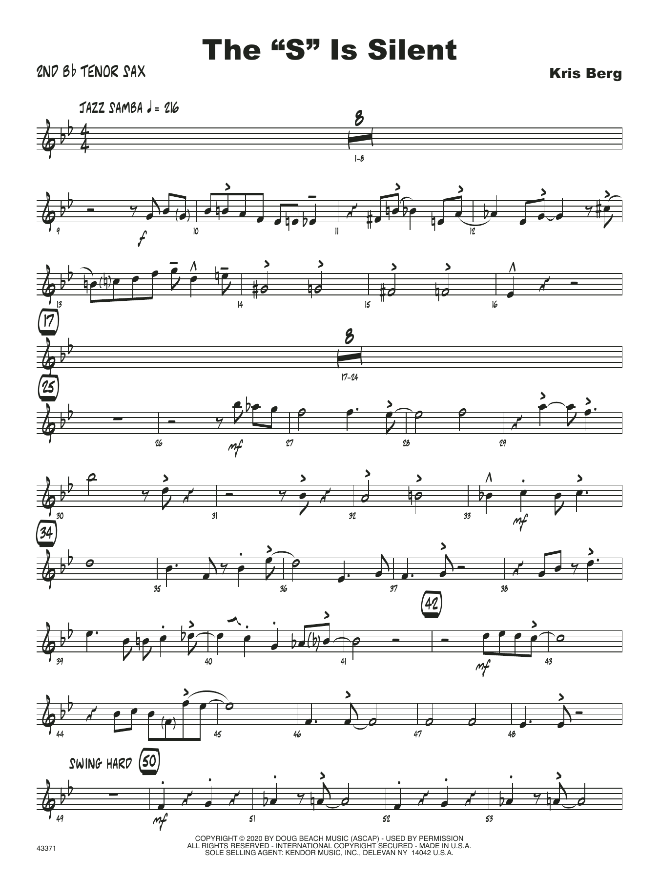 "The ""S"" Is Silent - 2nd Bb Tenor Saxophone Sheet Music"