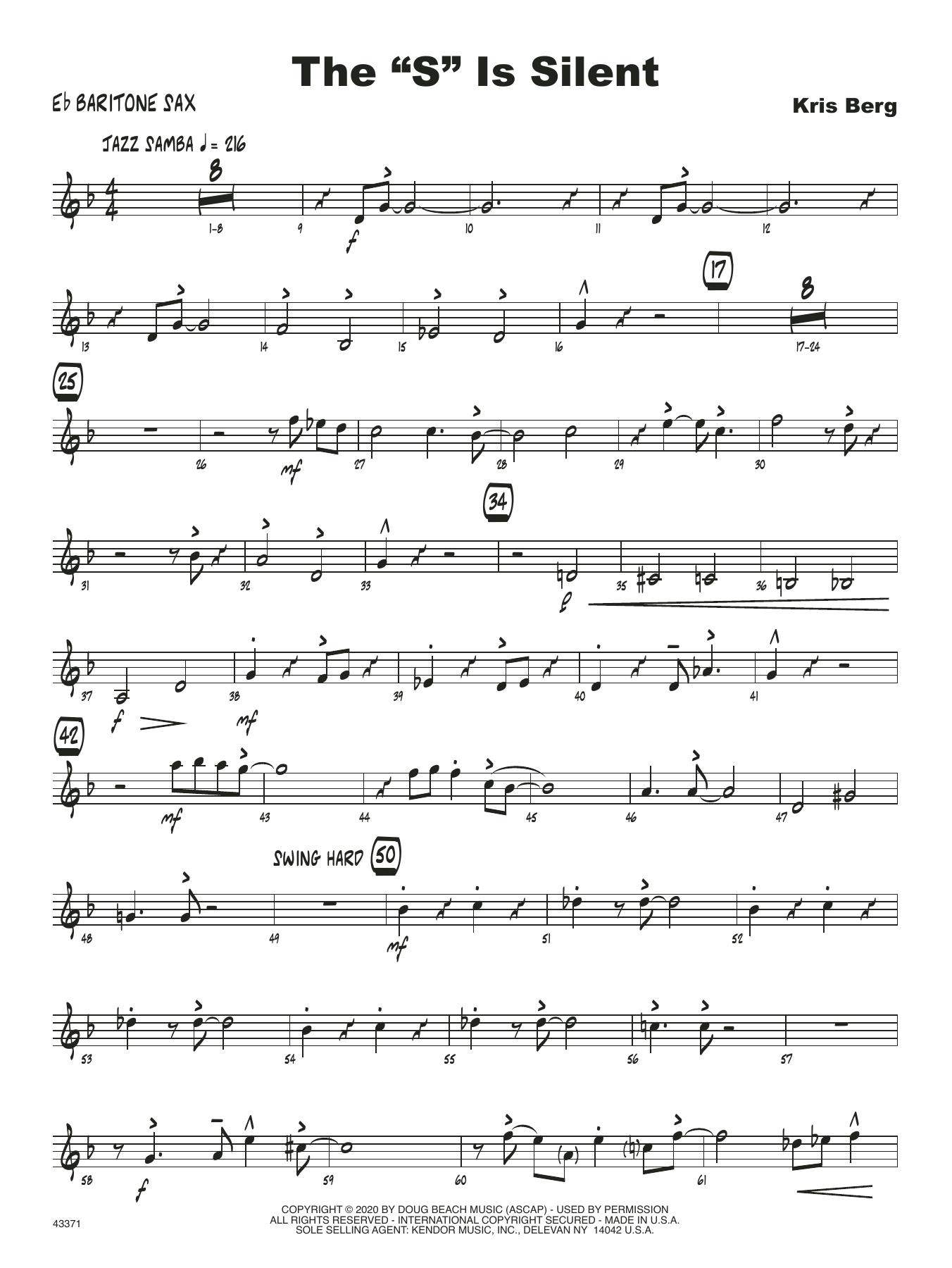 "The ""S"" Is Silent - Eb Baritone Saxophone Sheet Music"