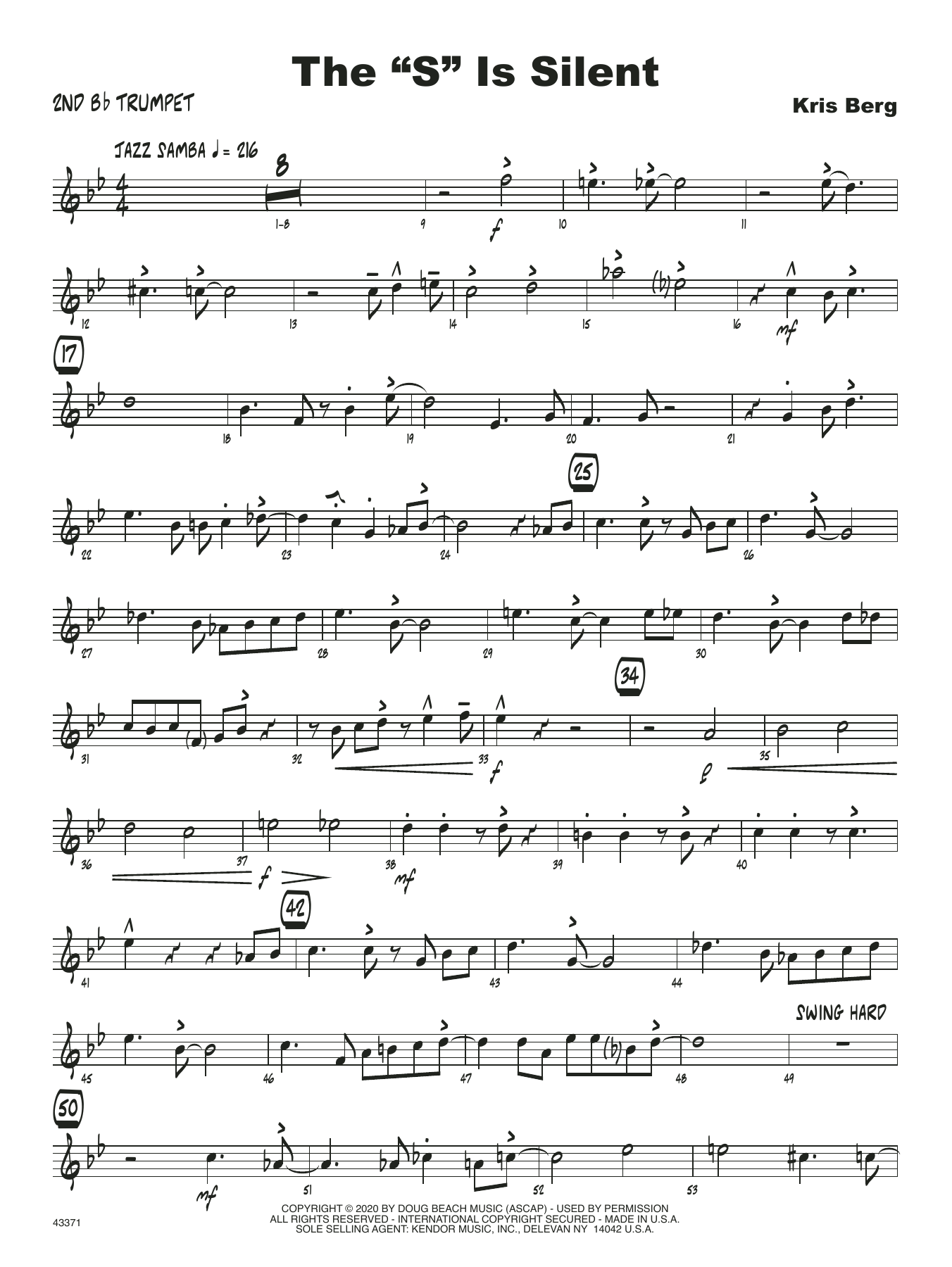 """The """"S"""" Is Silent - 2nd Bb Trumpet Sheet Music"""