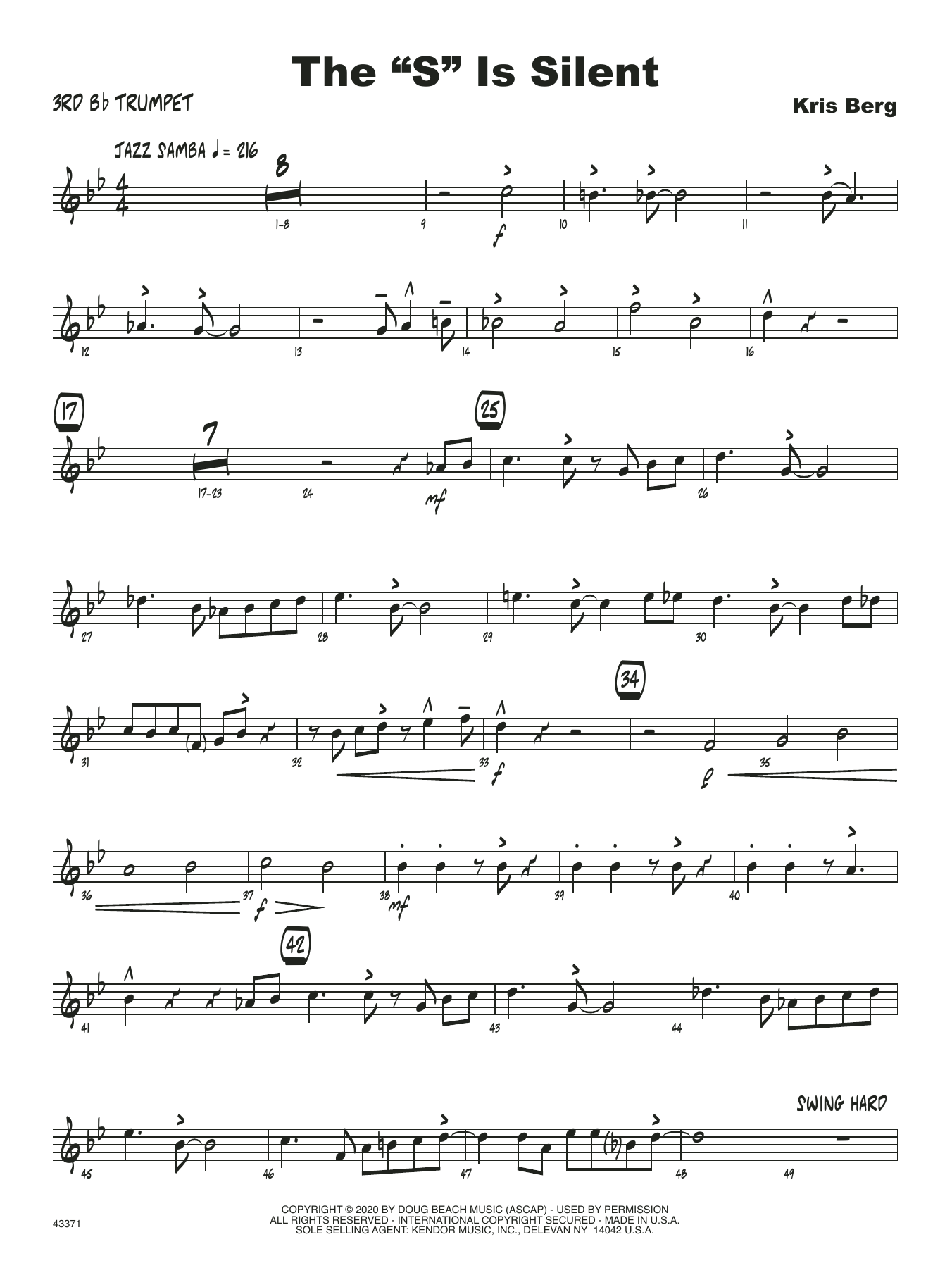 """The """"S"""" Is Silent - 3rd Bb Trumpet Sheet Music"""