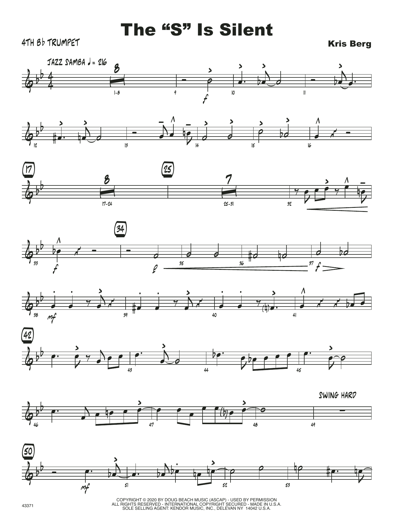 """The """"S"""" Is Silent - 4th Bb Trumpet Sheet Music"""