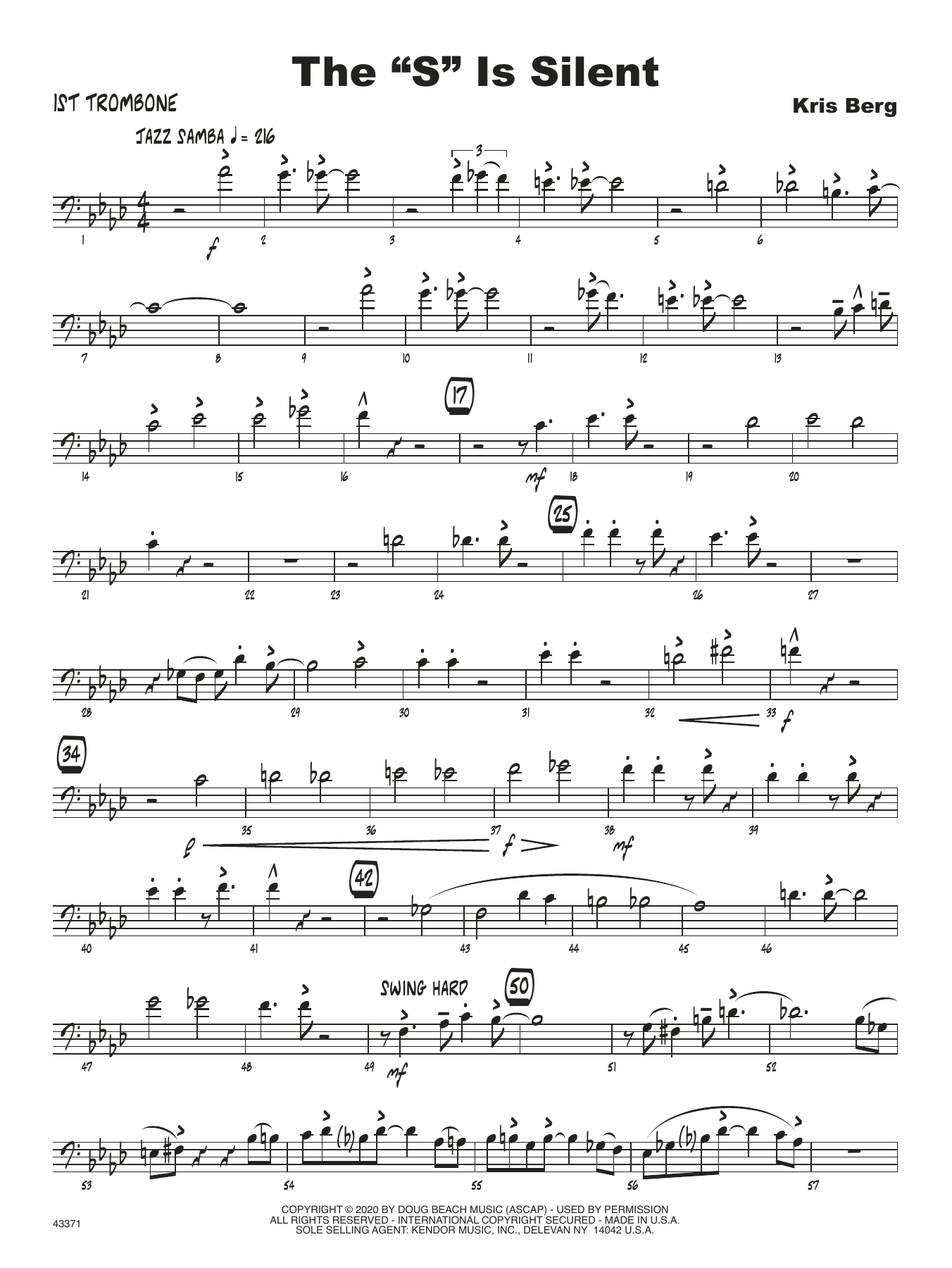"The ""S"" Is Silent - 1st Trombone Sheet Music"