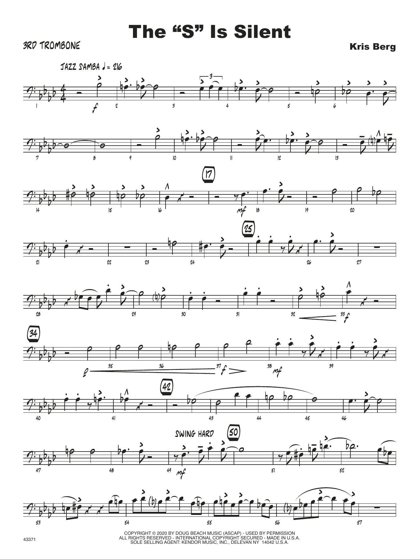 "The ""S"" Is Silent - 3rd Trombone Sheet Music"