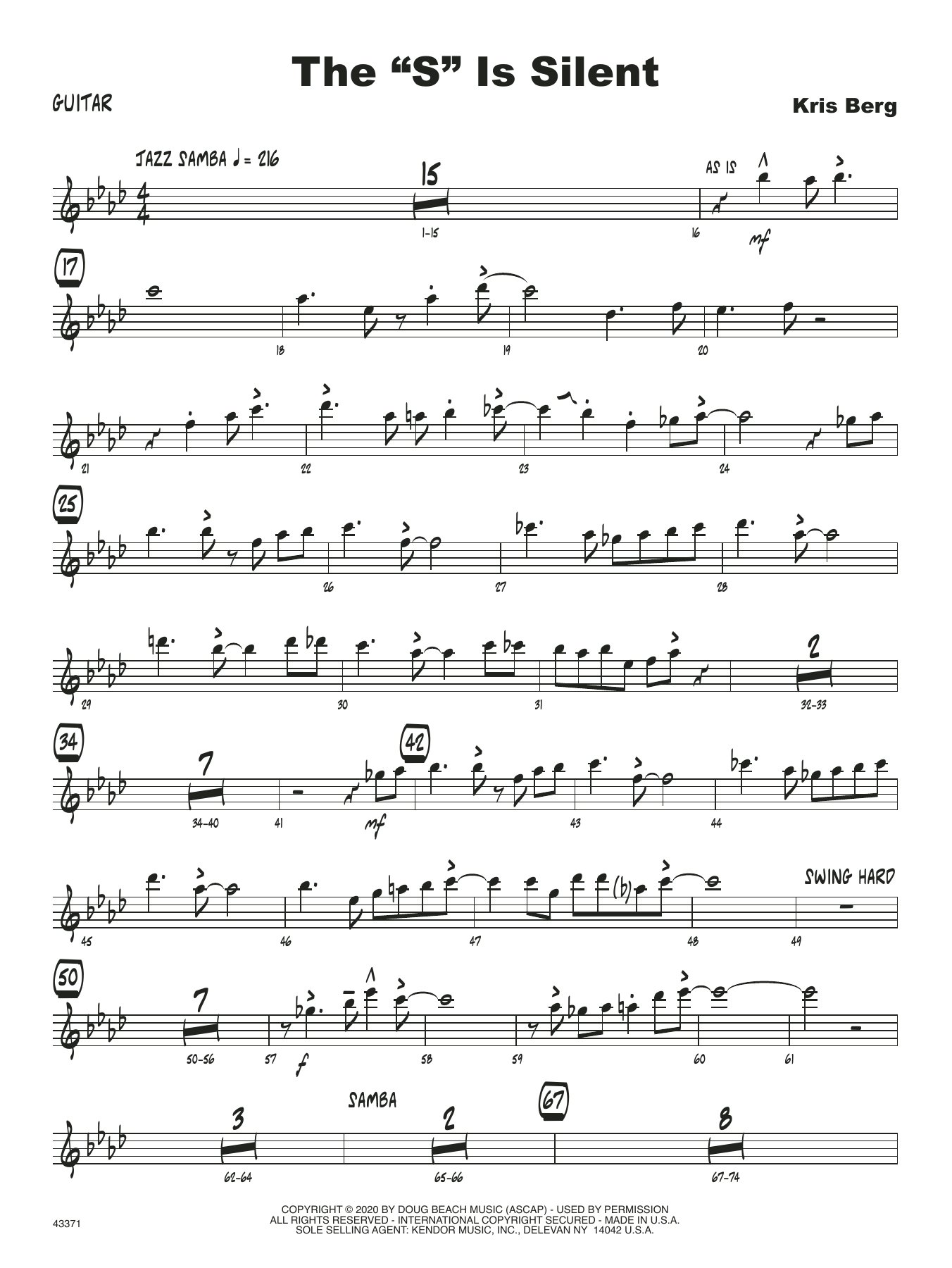 """The """"S"""" Is Silent - Guitar Sheet Music"""