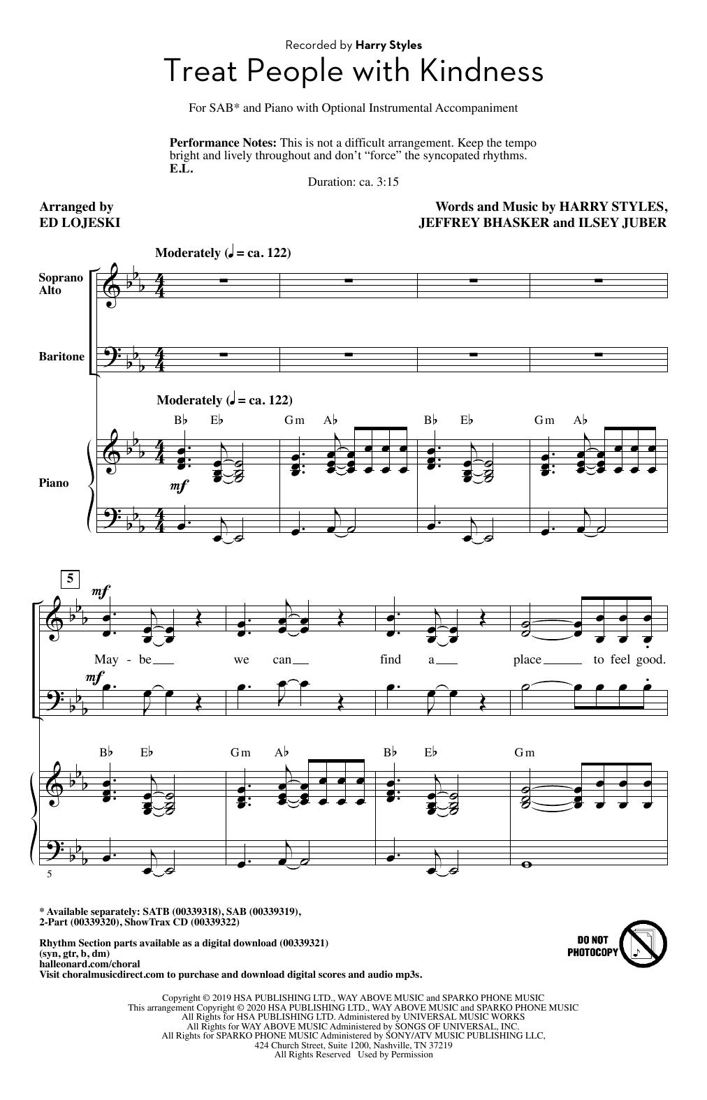 Treat People With Kindness (arr. Ed Lojeski) (SAB Choir)