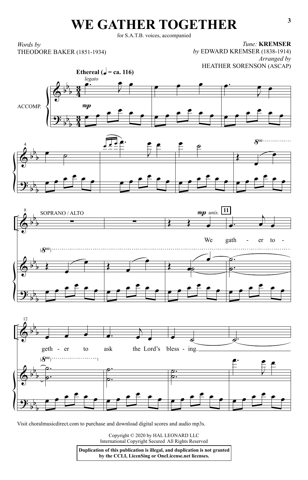 We Gather Together (arr. Heather Sorenson) Sheet Music