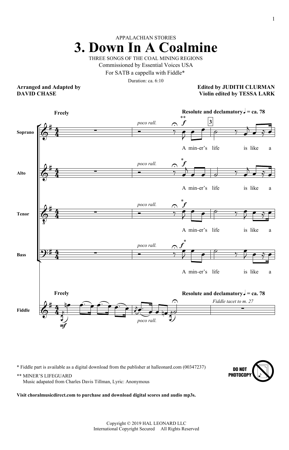 Down In A Coalmine (No. 3 from Appalachian Stories) Sheet Music