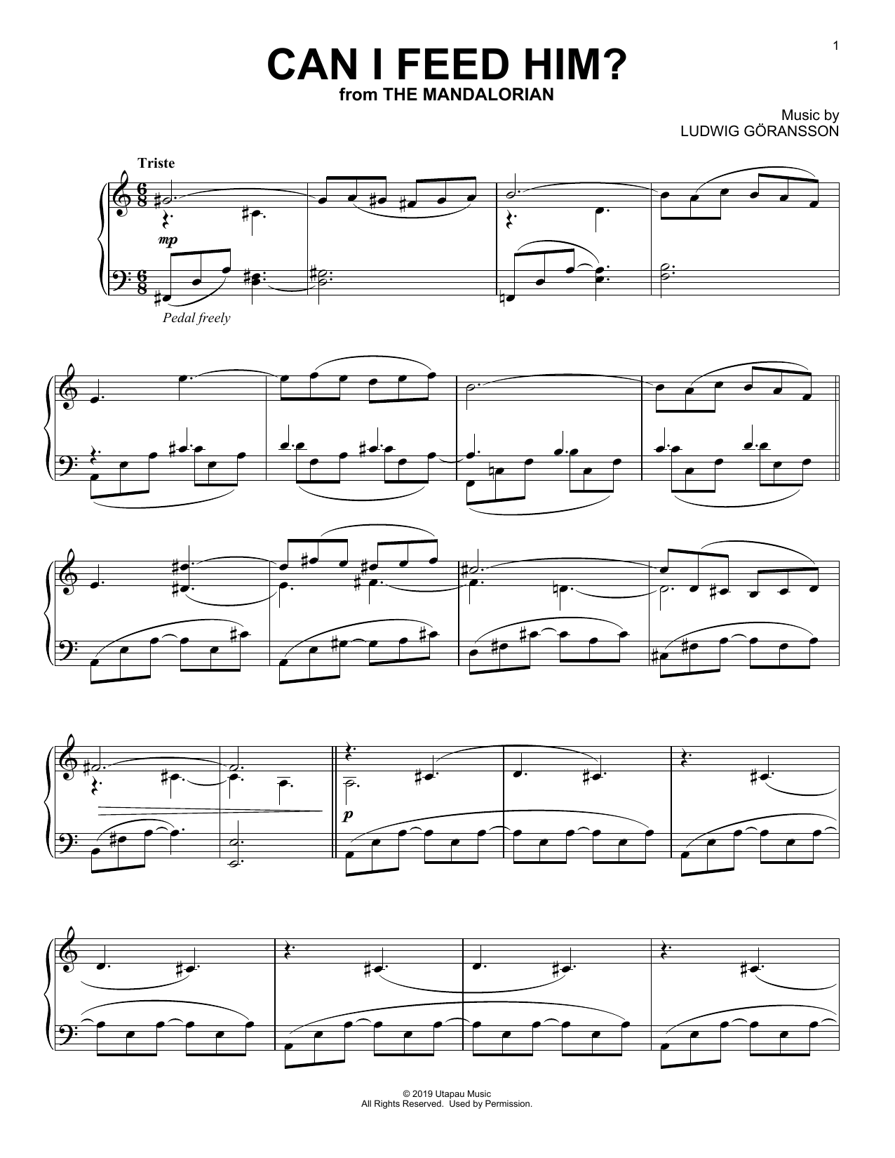 Can I Feed Him? (from Star Wars: The Mandalorian) (Piano Solo)