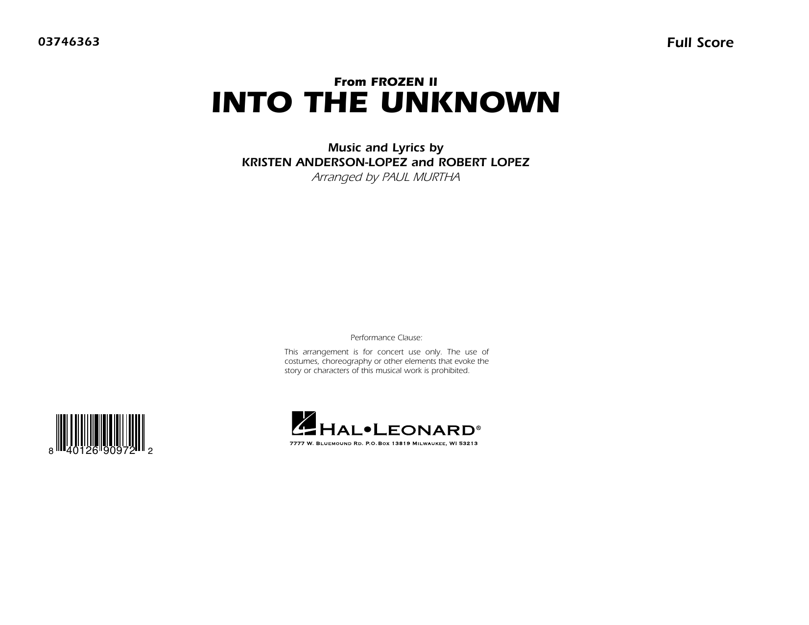 Into the Unknown (from Disney's Frozen 2) (arr. Paul Murtha) - Conductor Score (Full Score) Sheet Music