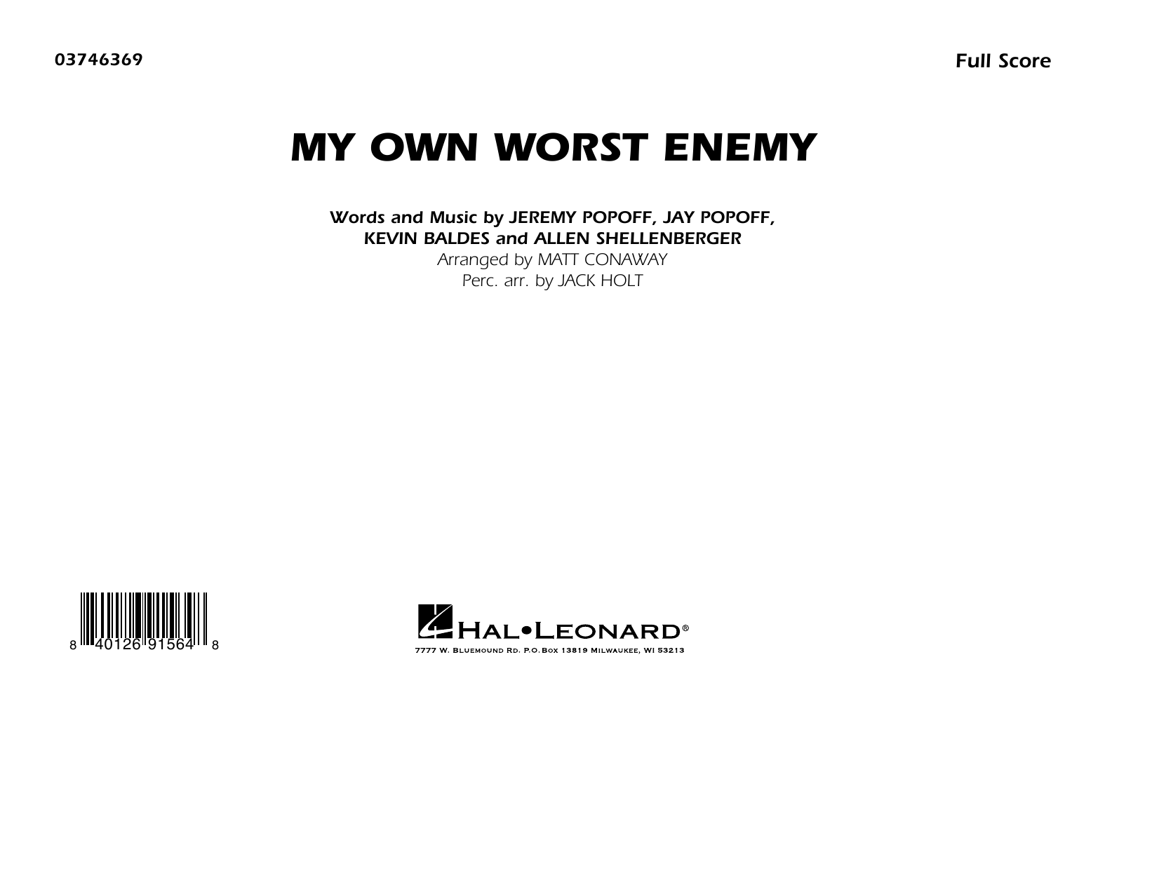 My Own Worst Enemy (arr. Matt Conaway) - Conductor Score (Full Score) Sheet Music