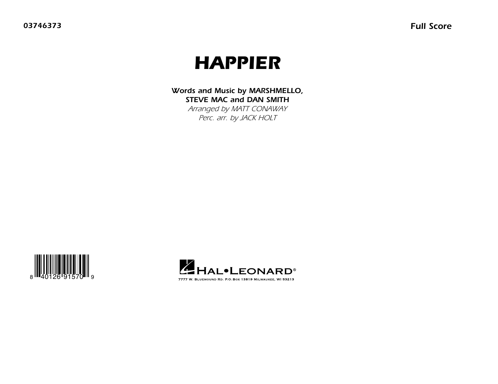 Happier (arr. Matt Conaway and Jack Holt) - Conductor Score (Full Score) Sheet Music