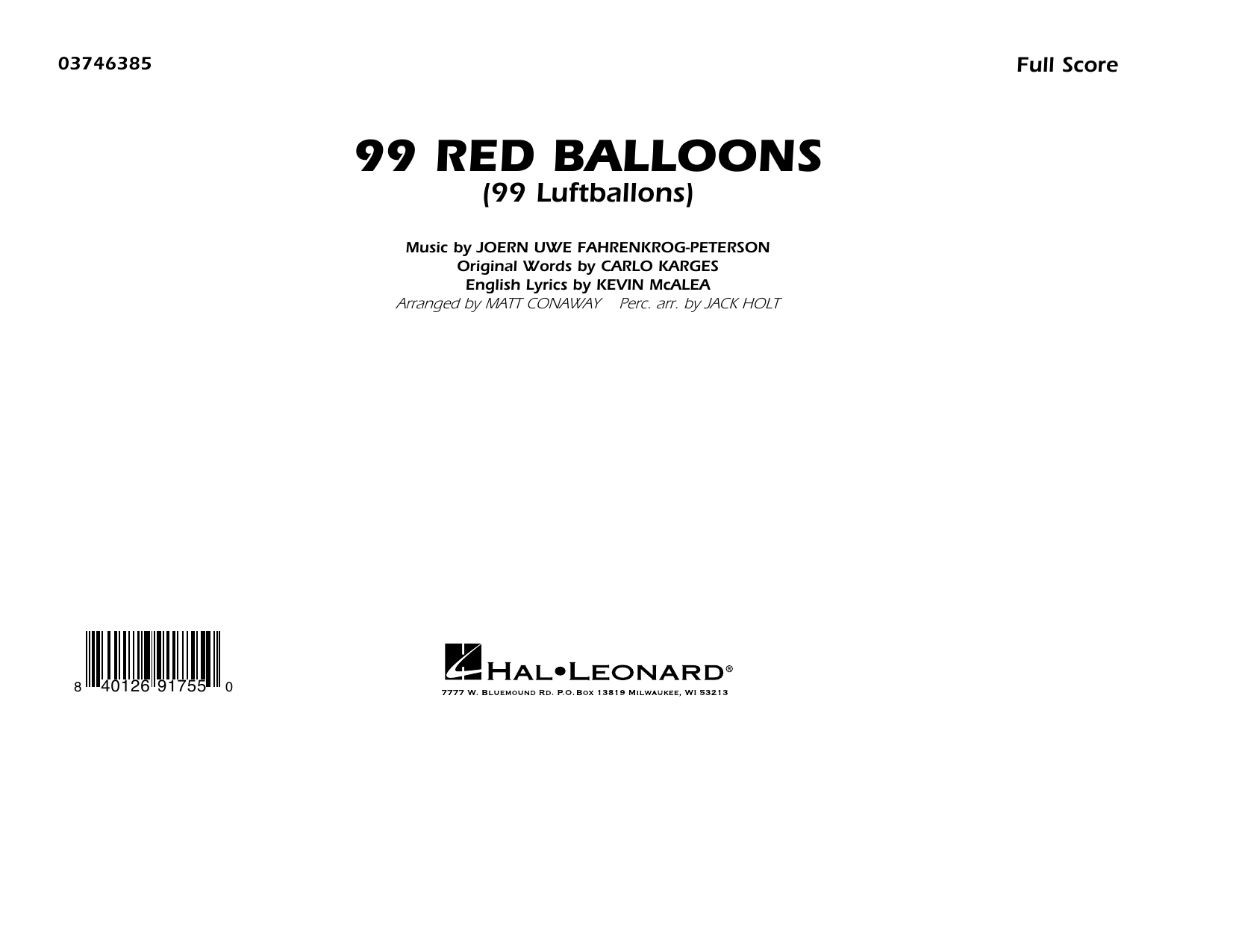 99 Red Balloons (arr. Holt and Conaway) - Conductor Score (Full Score) Sheet Music