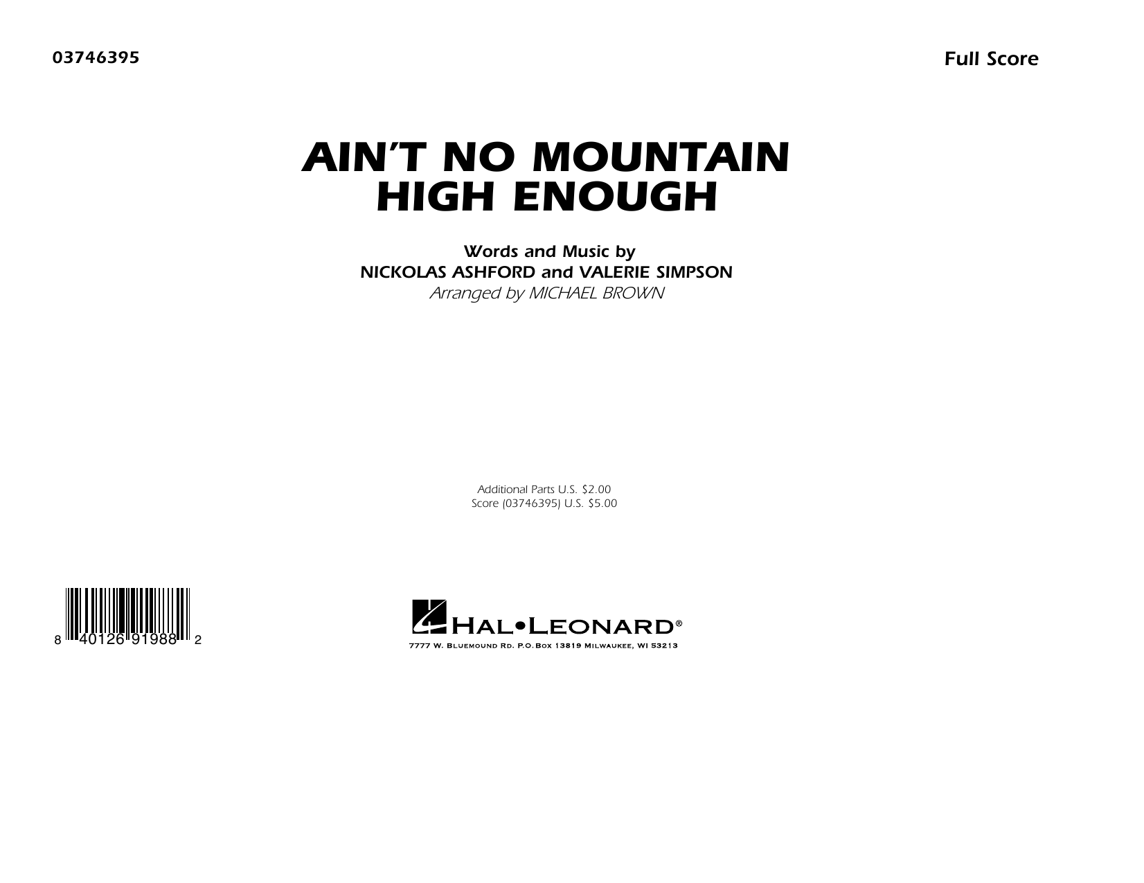 Ain't No Mountain High Enough (arr. Michael Brown) - Conductor Score (Full Score) Sheet Music