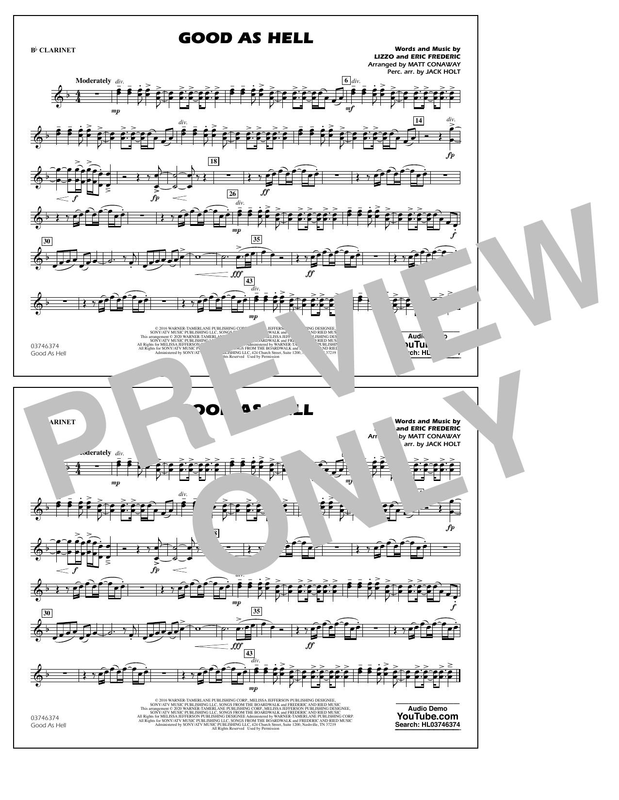 Good As Hell (arr. Matt Conaway and Jack Holt) - Bb Clarinet Sheet Music