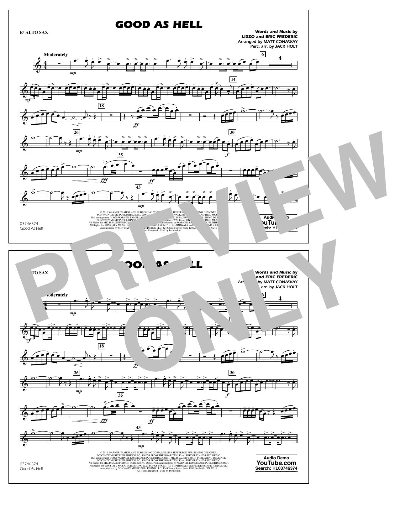 Good As Hell (arr. Matt Conaway and Jack Holt) - Eb Alto Sax Sheet Music