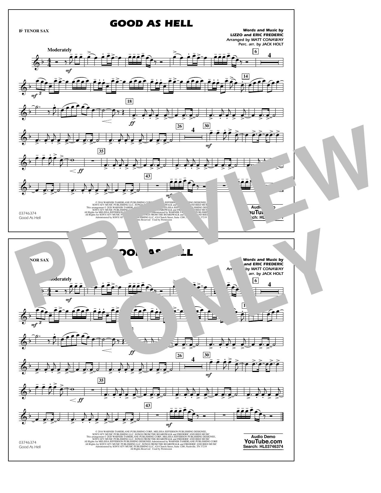 Good As Hell (arr. Matt Conaway and Jack Holt) - Bb Tenor Sax Sheet Music