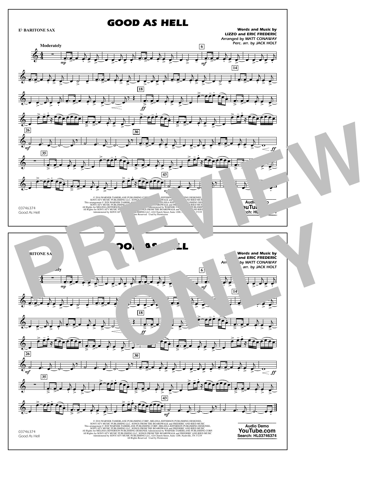 Good As Hell (arr. Matt Conaway and Jack Holt) - Eb Baritone Sax Sheet Music