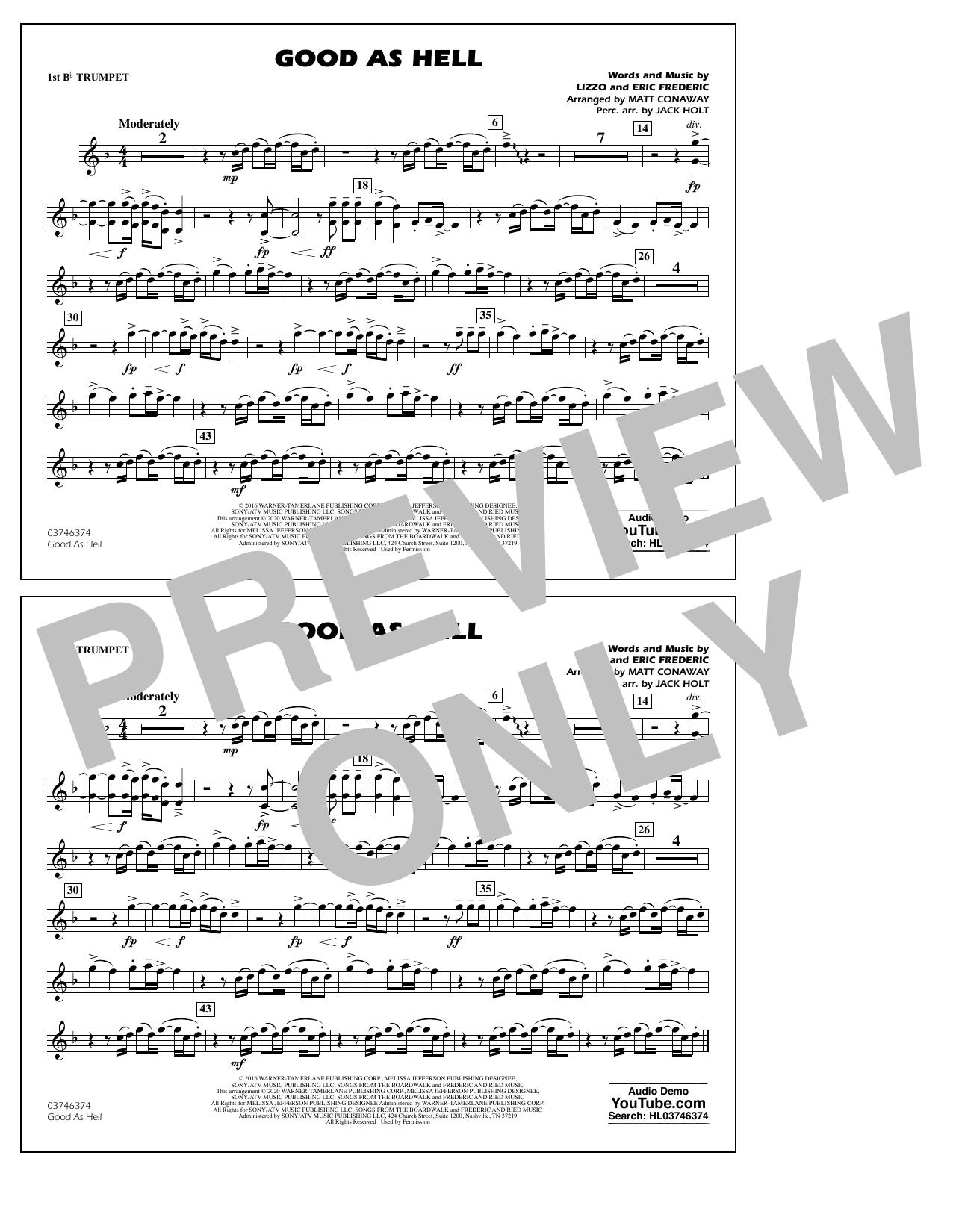 Good As Hell (arr. Matt Conaway and Jack Holt) - 1st Bb Trumpet Sheet Music