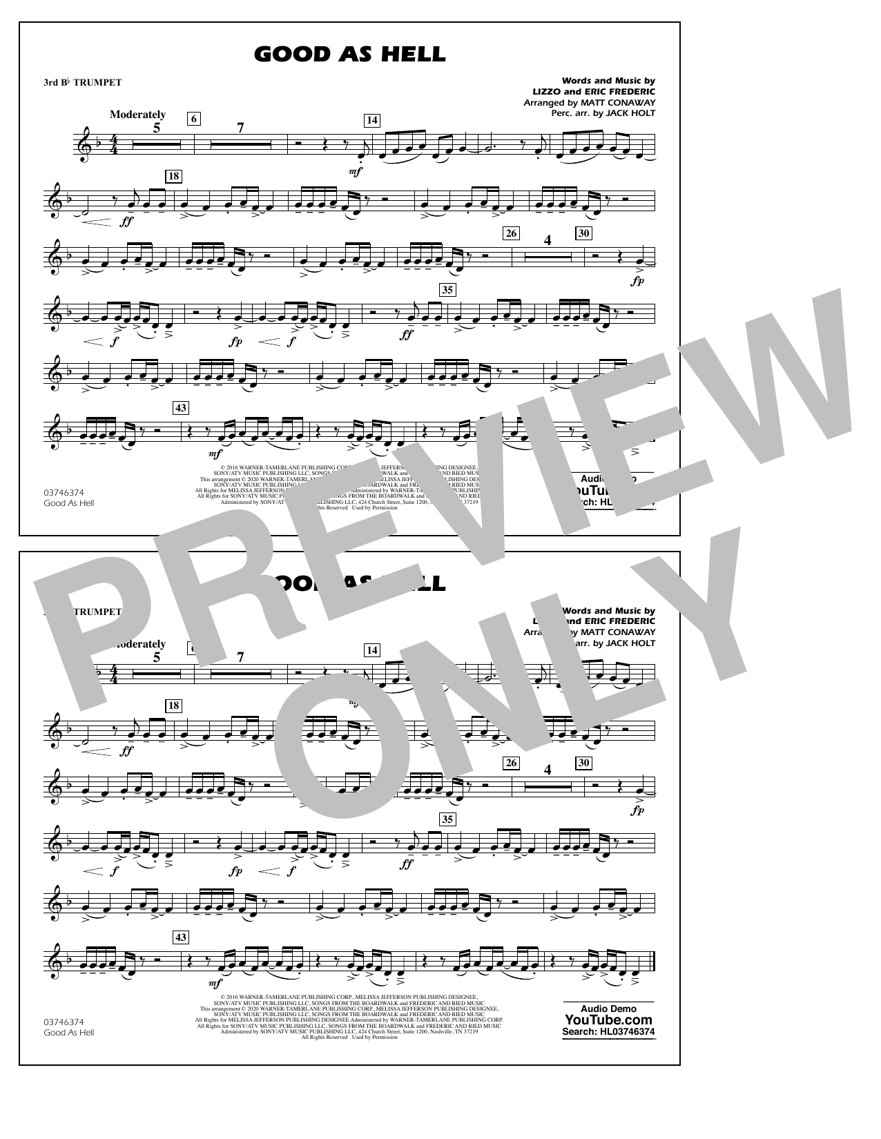 Good As Hell (arr. Matt Conaway and Jack Holt) - 3rd Bb Trumpet Sheet Music