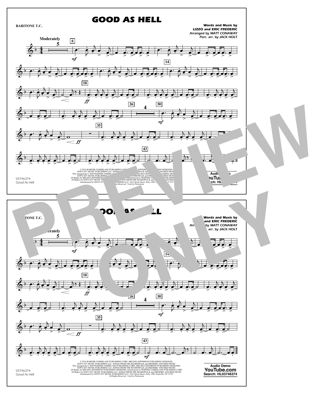 Good As Hell (arr. Matt Conaway and Jack Holt) - Baritone T.C. Sheet Music