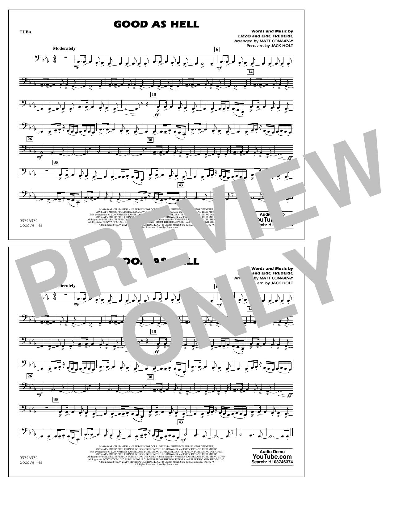 Good As Hell (arr. Matt Conaway and Jack Holt) - Tuba Sheet Music