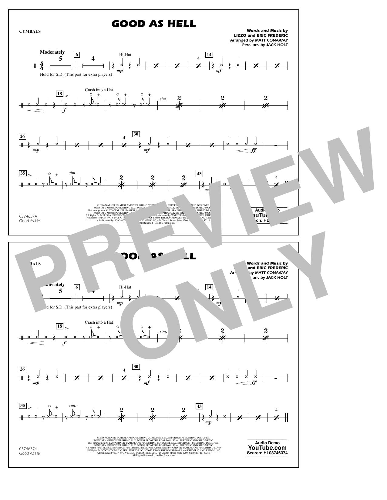 Good As Hell (arr. Matt Conaway and Jack Holt) - Cymbals Sheet Music