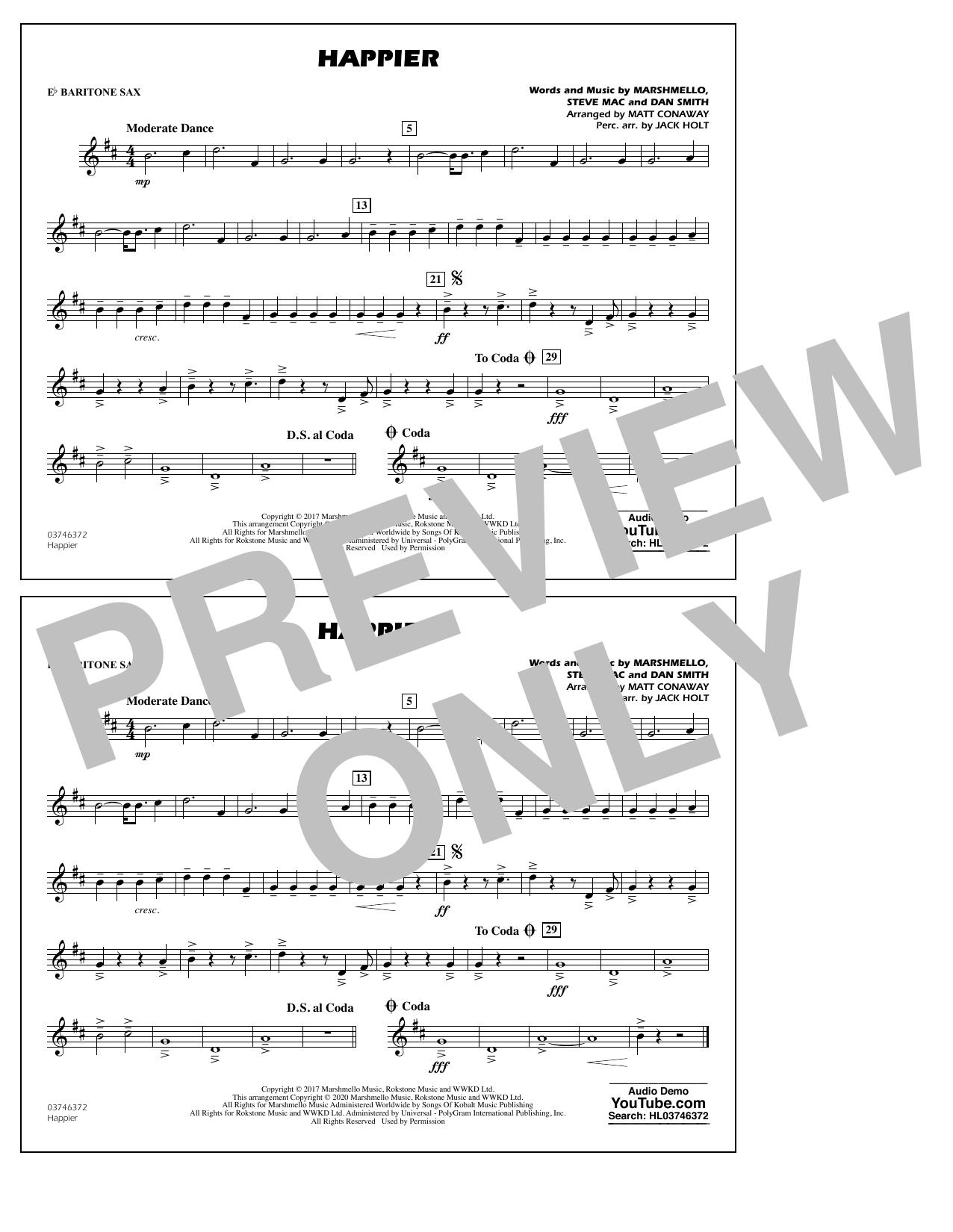 Happier (arr. Matt Conaway and Jack Holt) - Eb Baritone Sax Sheet Music