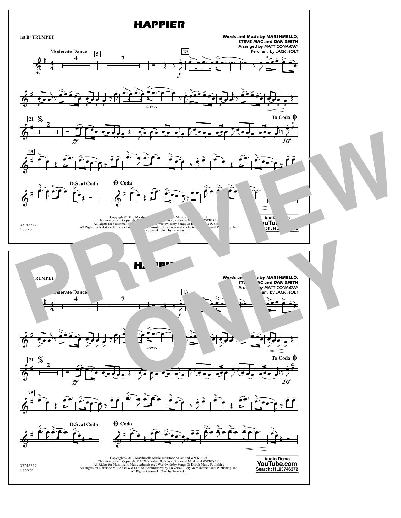 Happier (arr. Matt Conaway and Jack Holt) - 1st Bb Trumpet Sheet Music