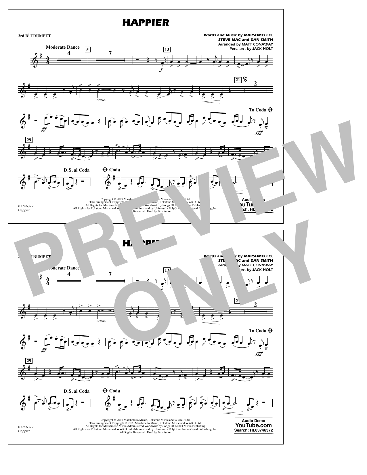Happier (arr. Matt Conaway and Jack Holt) - 3rd Bb Trumpet Sheet Music
