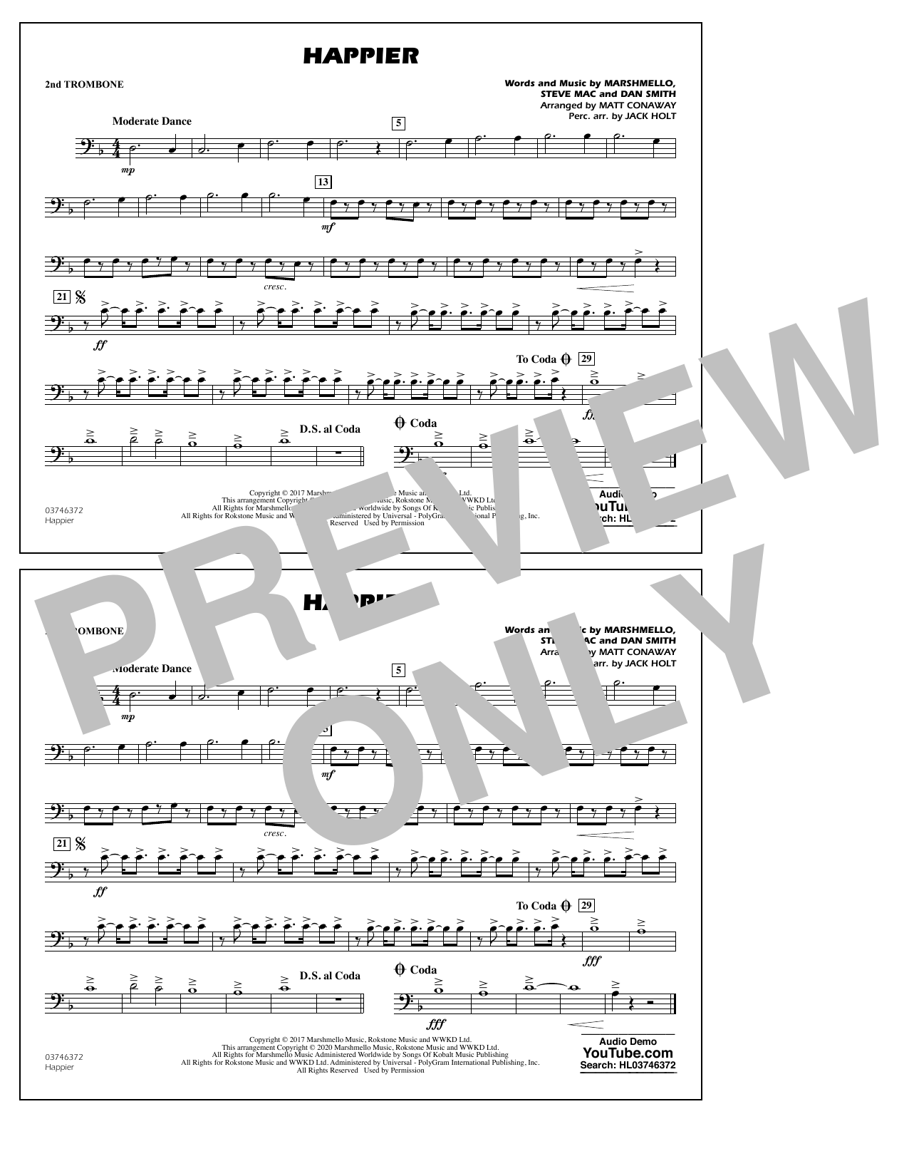Happier (arr. Matt Conaway and Jack Holt) - 2nd Trombone Sheet Music