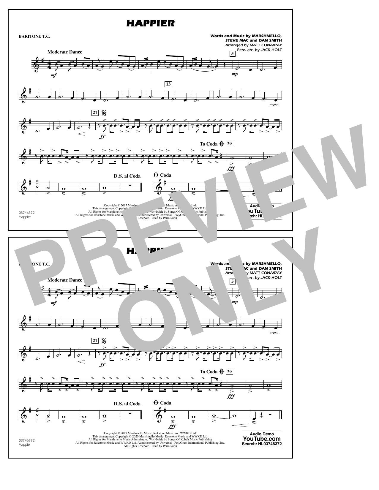 Happier (arr. Matt Conaway and Jack Holt) - Baritone T.C. Sheet Music
