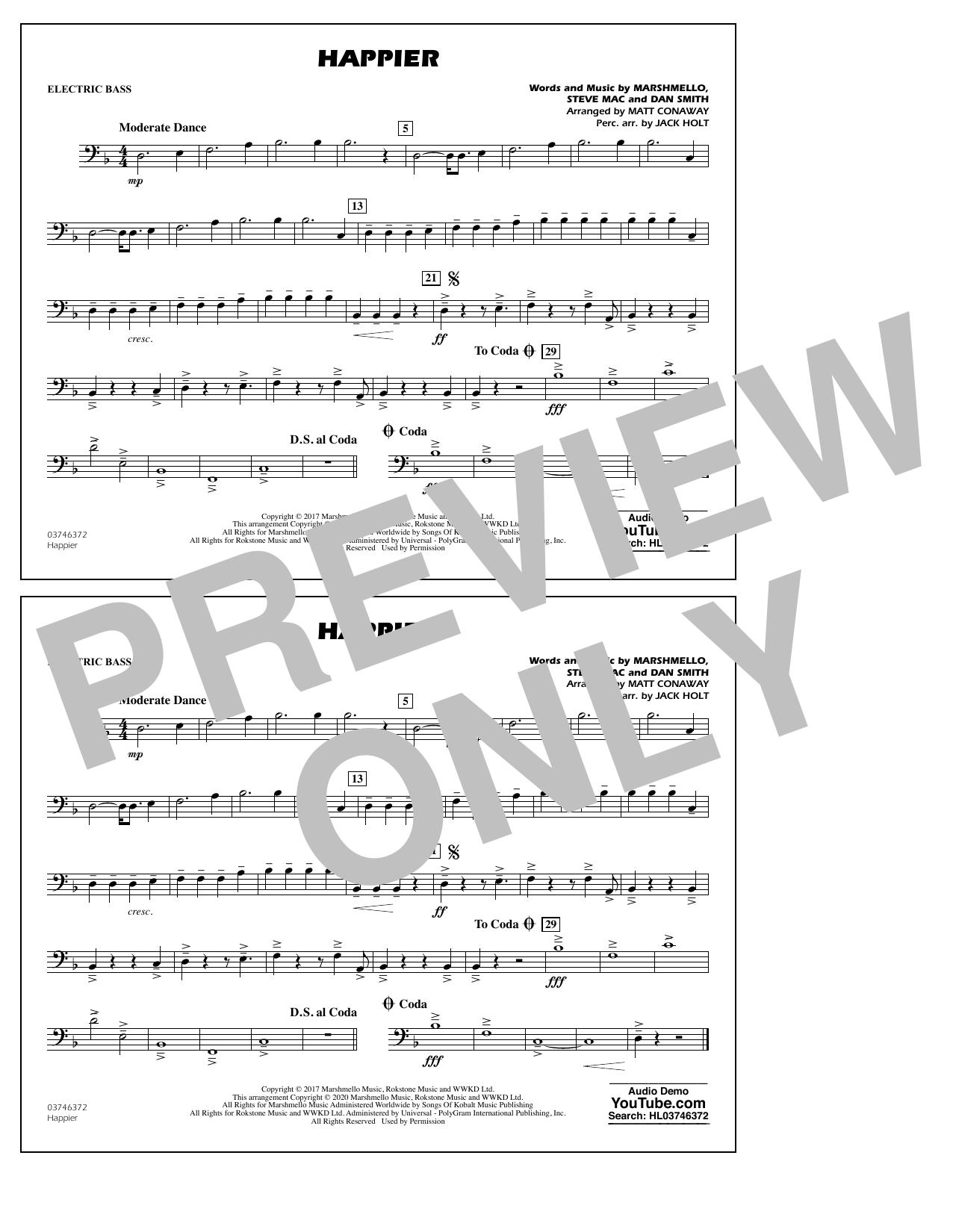 Happier (arr. Matt Conaway and Jack Holt) - Electric Bass Sheet Music