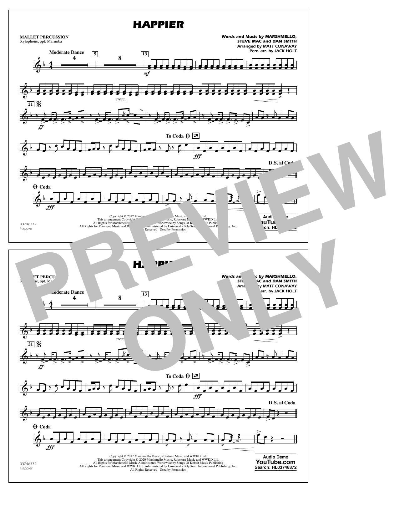 Happier (arr. Matt Conaway and Jack Holt) - Mallet Percussion Sheet Music
