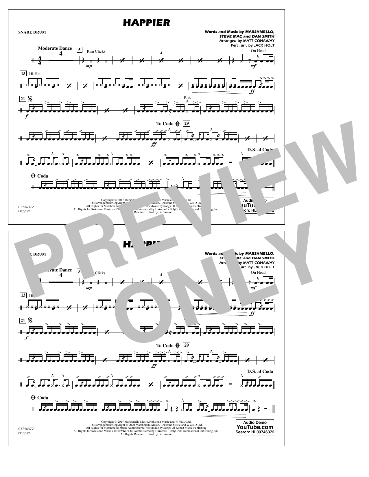 Happier (arr. Matt Conaway and Jack Holt) - Snare Drum Sheet Music