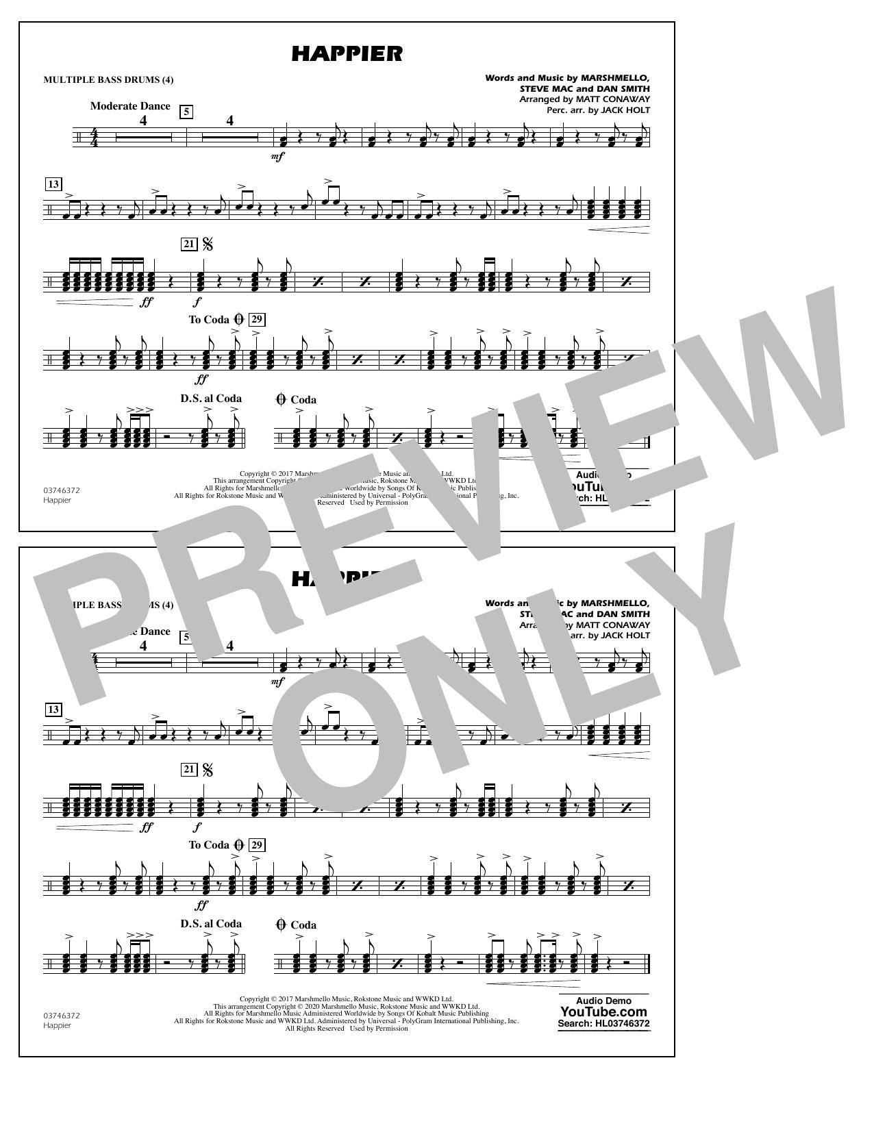 Happier (arr. Matt Conaway and Jack Holt) - Multiple Bass Drums Sheet Music