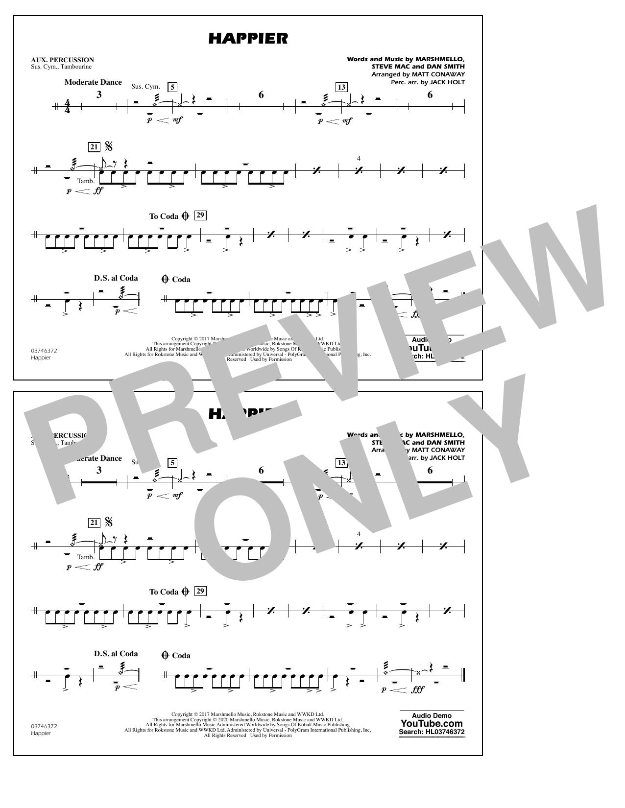Happier (arr. Matt Conaway and Jack Holt) - Aux Percussion Sheet Music