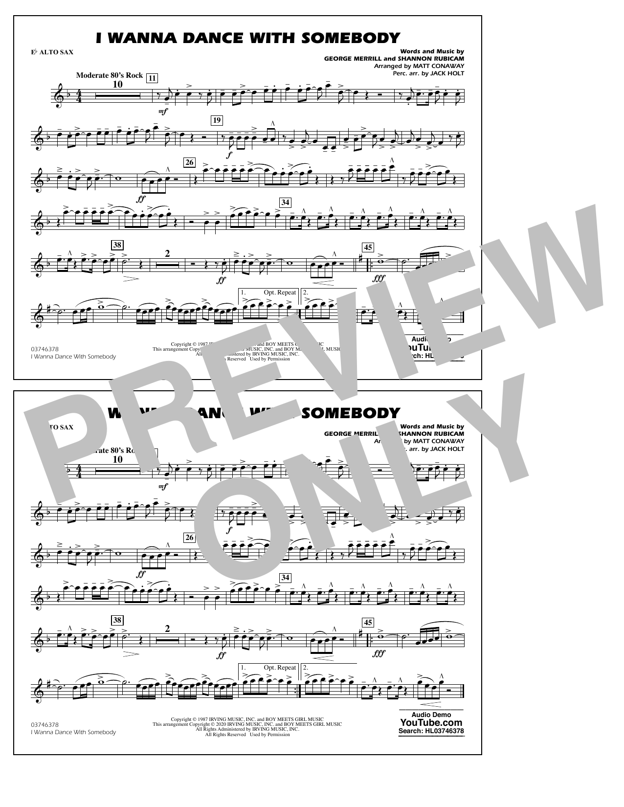 I Wanna Dance with Somebody (arr. Conaway and Holt) - Eb Alto Sax Sheet Music