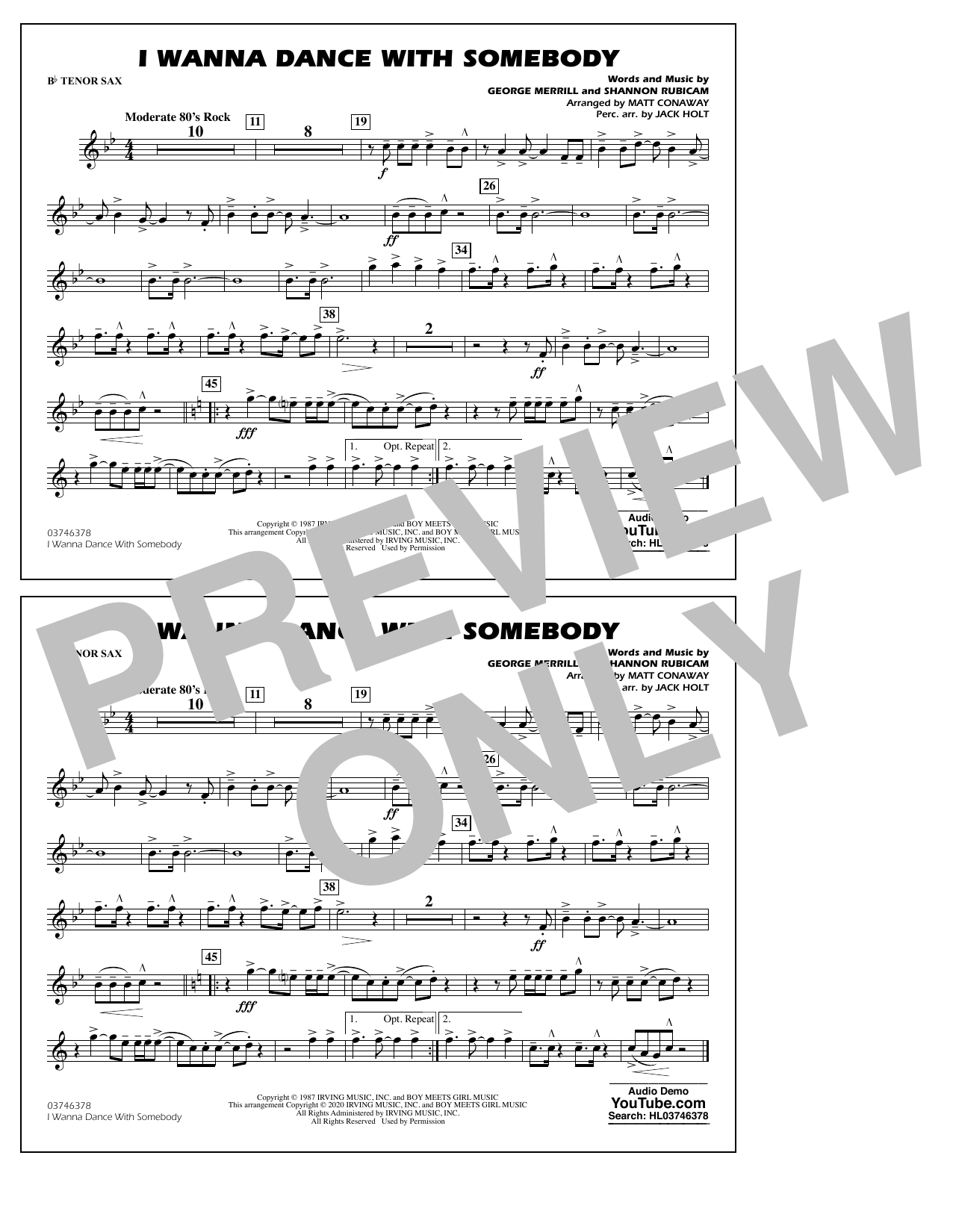 I Wanna Dance with Somebody (arr. Conaway and Holt) - Bb Tenor Sax Sheet Music