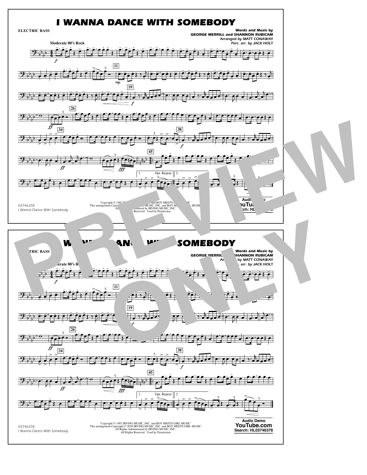 I Wanna Dance with Somebody (arr. Conaway and Holt) - Electric Bass Sheet Music