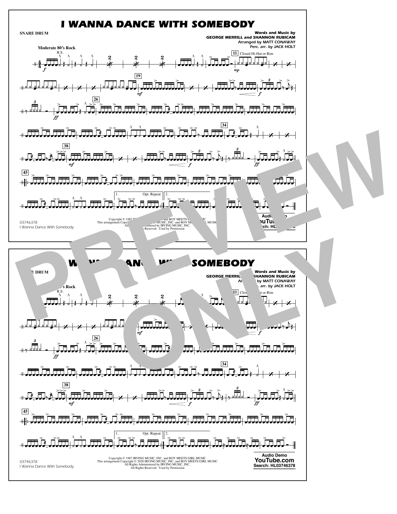 I Wanna Dance with Somebody (arr. Conaway and Holt) - Snare Drum Sheet Music
