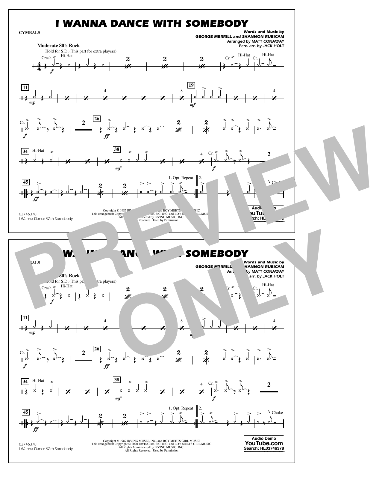 I Wanna Dance with Somebody (arr. Conaway and Holt) - Cymbals Sheet Music