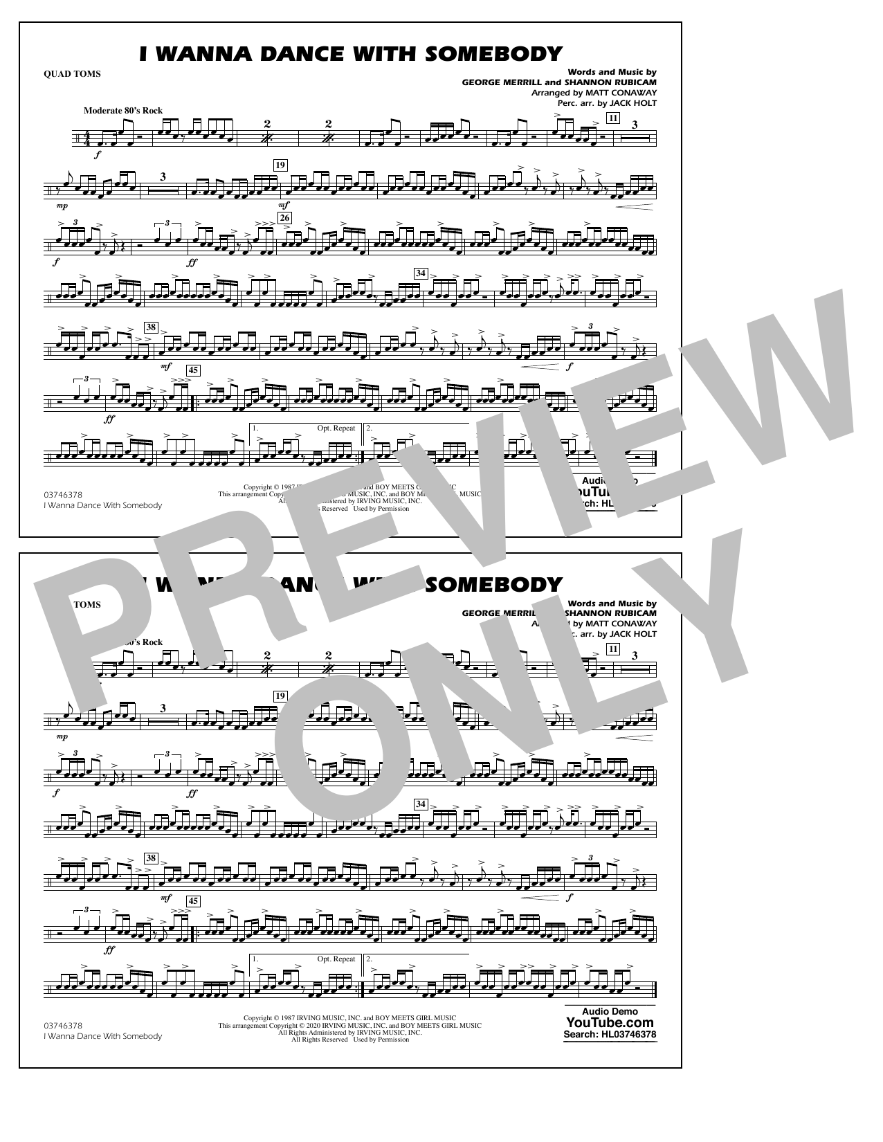 I Wanna Dance with Somebody (arr. Conaway and Holt) - Quad Toms Sheet Music