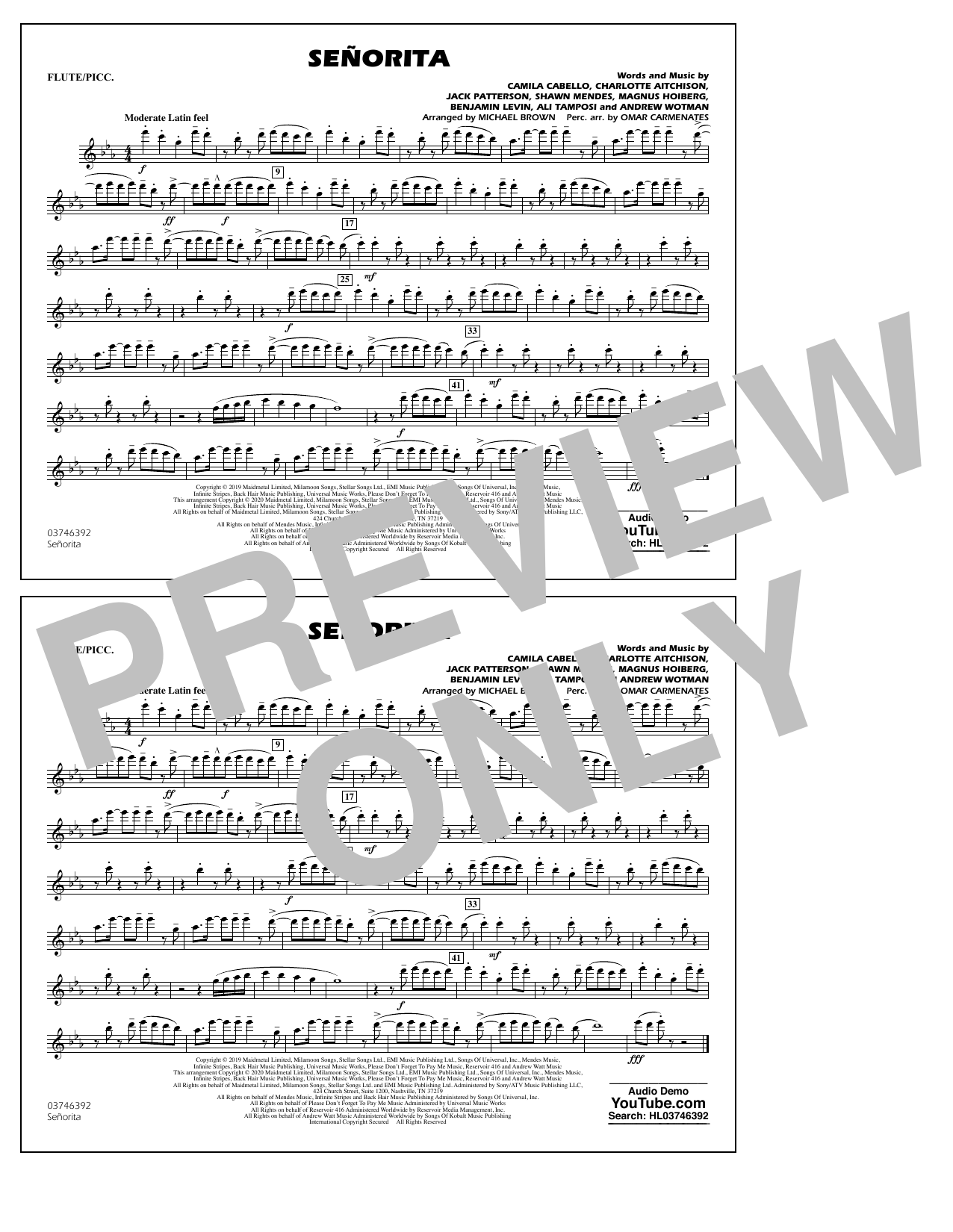 Señorita (arr. Carmenates and Brown) - Flute/Piccolo Sheet Music