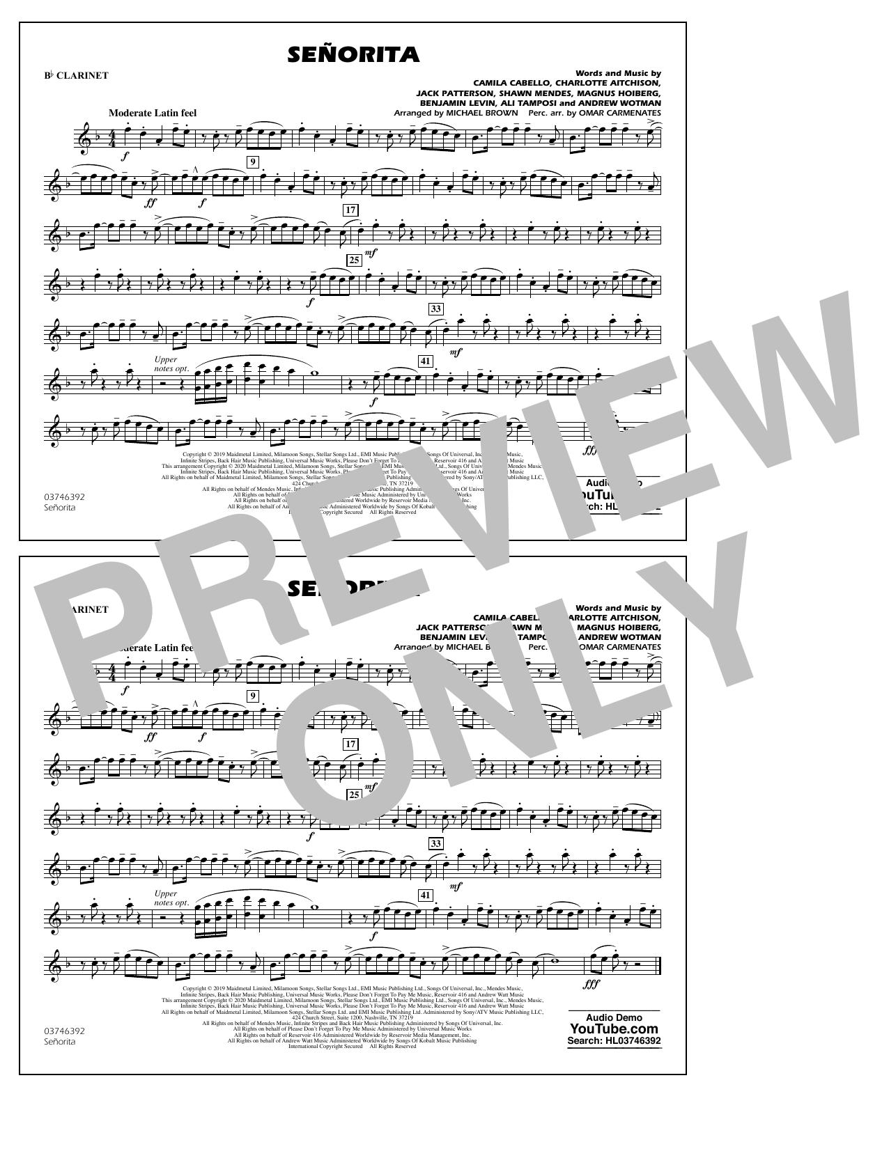 Señorita (arr. Carmenates and Brown) - Bb Clarinet (Marching Band)