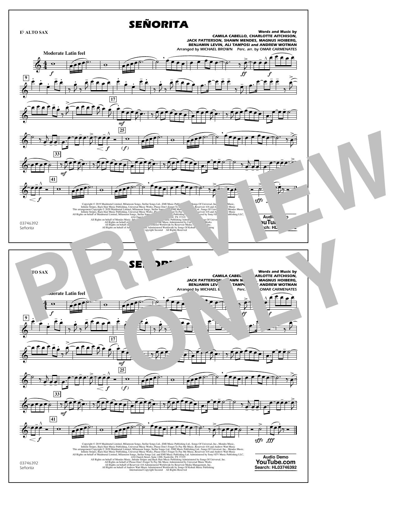 Señorita (arr. Carmenates and Brown) - Eb Alto Sax Sheet Music