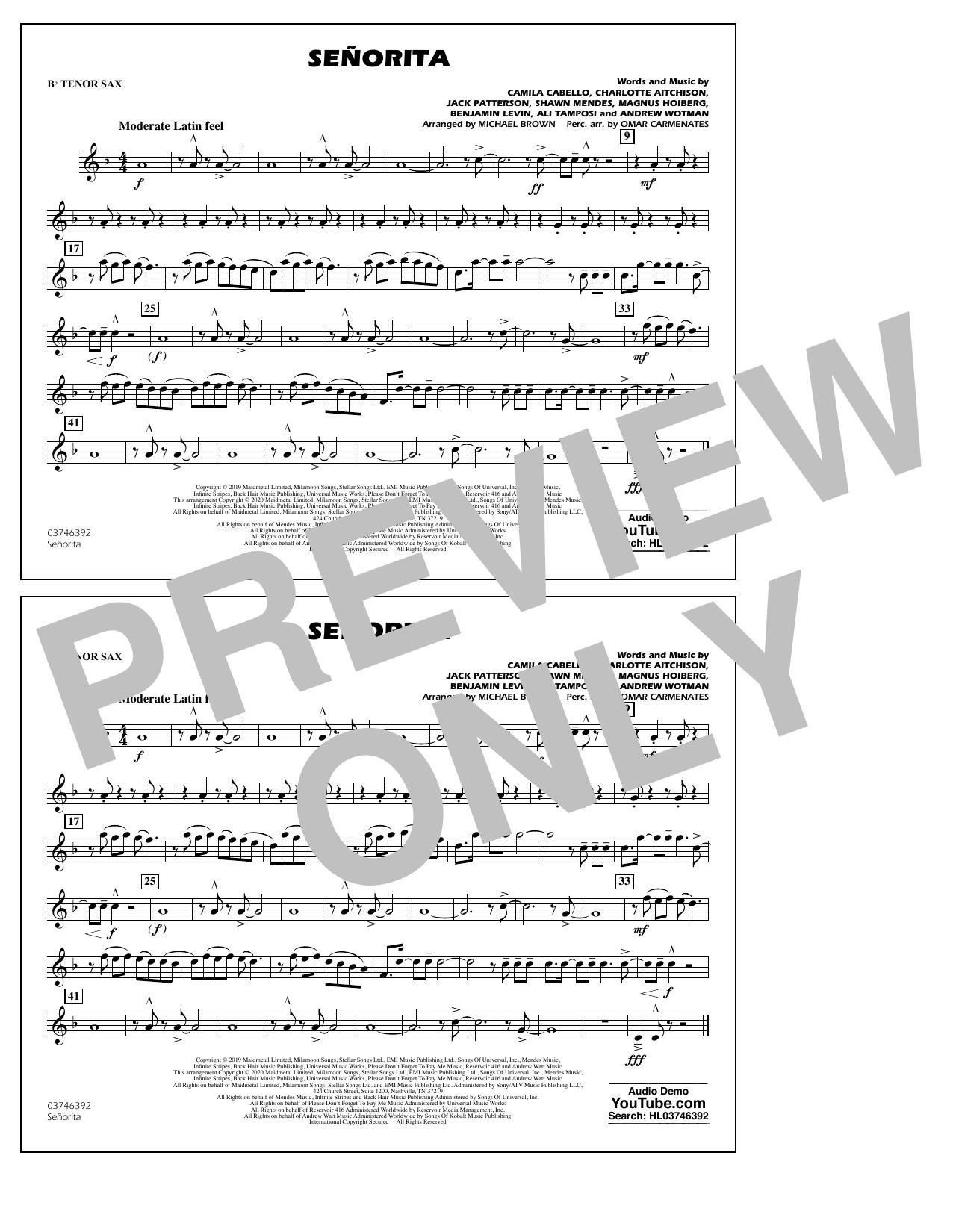Señorita (arr. Carmenates and Brown) - Bb Tenor Sax Sheet Music