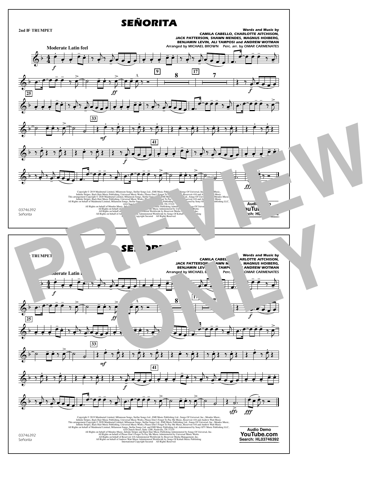 Señorita (arr. Carmenates and Brown) - 2nd Bb Trumpet (Marching Band)