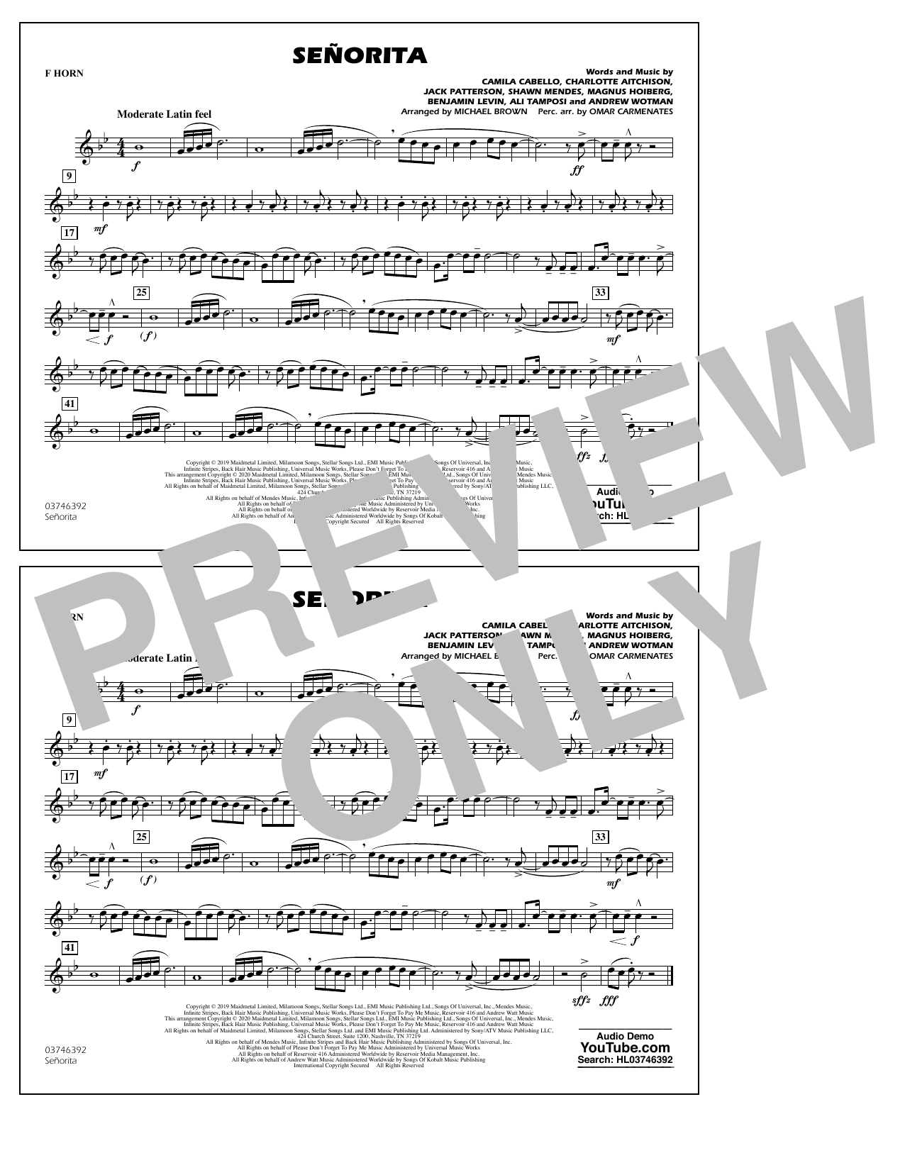 Señorita (arr. Carmenates and Brown) - F Horn (Marching Band)
